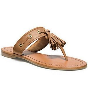 Coach Leather Sheena Cognac Tassel Thong Sandals